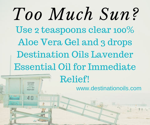 Relieve sunburn with essential oil- lavender, aloe vera gel- easy essential oil recipe- Destination Oils