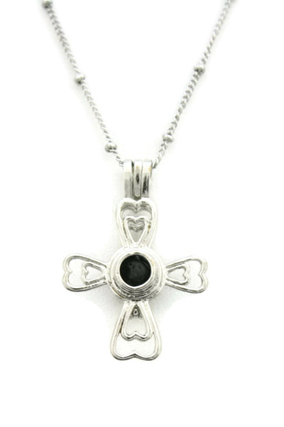 """Divine"" Cross 316L Stainless Steel Silver Essential Oil Diffuser Necklace- 18""-Diffuser Necklace-Destination Oils"