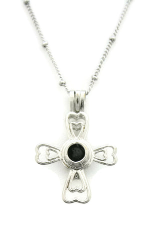 """Divine"" Religious Cross Silver Essential Oil Diffuser Necklace- 18""-Diffuser Necklace-Destination Oils"