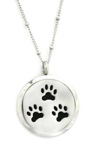 """Paw-some"" 316L Stainless Steel Essential Oil Diffuser Necklace- 30mm- 20"" Ball Station Chain-Diffuser Necklace-Destination Oils"
