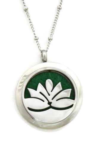 "Lotus Flower 316L Stainless Steel Essential Oil Diffuser Necklace- 30mm- 20""-Diffuser Necklace-Destination Oils"