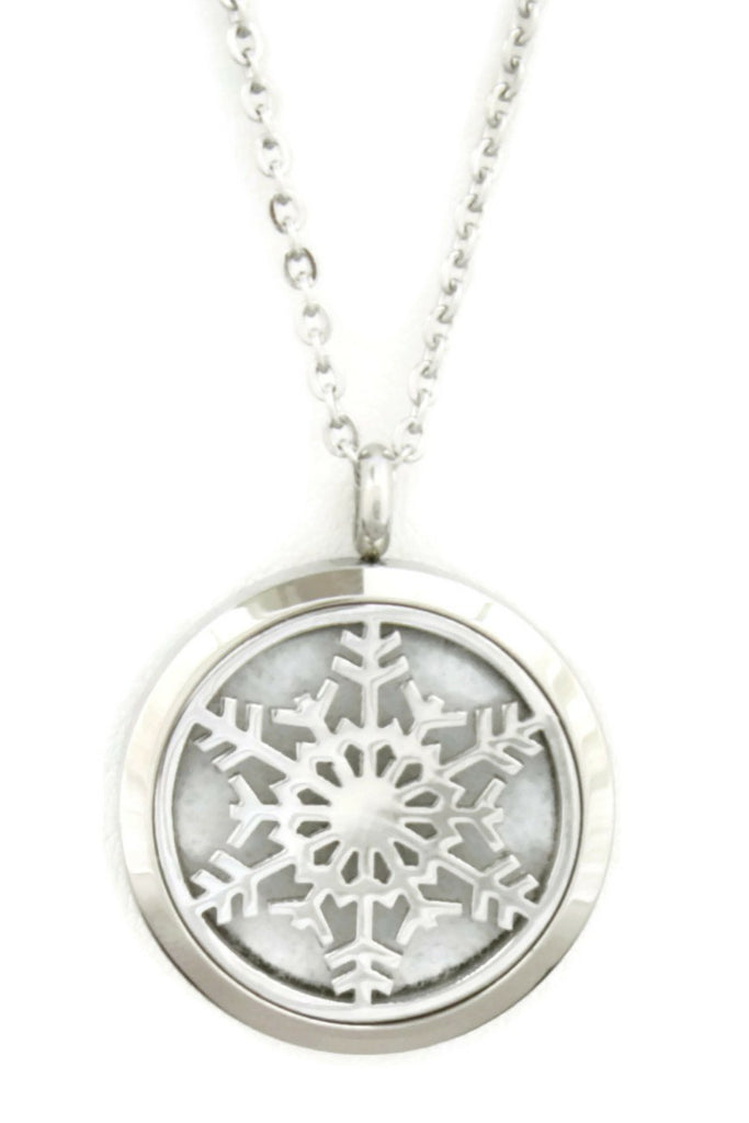 "Diffuser Necklace - ""Let It Snow"" Snowflake 316L Stainless Steel Essential Oil Diffuser Necklace- 24"""