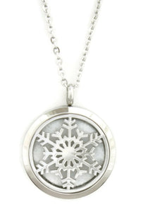 "Let it Snow Snowflake Stainless Steel Diffuser Necklace- 30mm- 24""-Diffuser Necklace-Destination Oils"