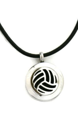 """Volleyball"" Small Stainless Steel Essential Oil Diffuser Necklace- 20mm- 18-20"" Black Cowhide-Diffuser Necklace-Destination Oils"