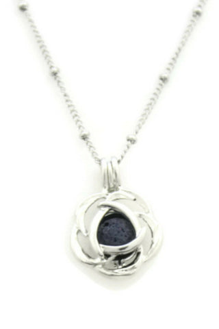 """Blossom"" Rose 316L Stainless Steel Silver Essential Oil Diffuser Necklace- 18""-Diffuser Necklace-Destination Oils"