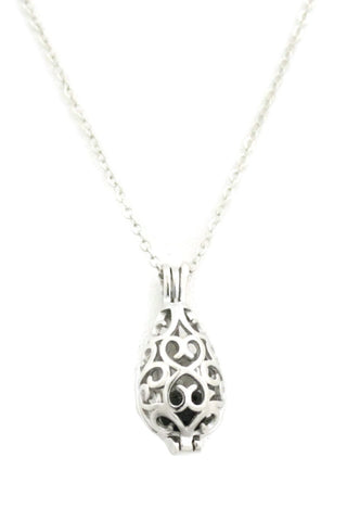 "Diffuser Necklace - ""Reflect"" Teardrop Silver Filigree Essential Oil Diffuser Necklace- 18"""