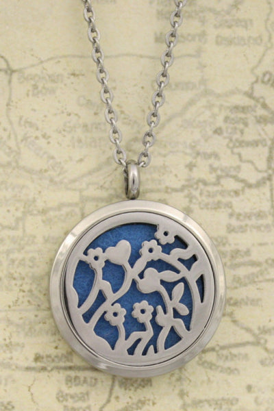 """Bouquet"" Flower 316L Stainless Steel Essential Oil Diffuser Necklace-24"" - Diffuser Necklace - Destination Oils"