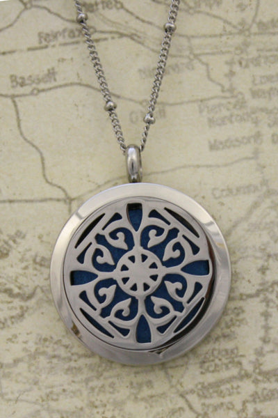 """Classic"" Filigree 316L Stainless Steel Silver Long Diffuser Necklace- 30"" - Diffuser Necklace - Destination Oils"