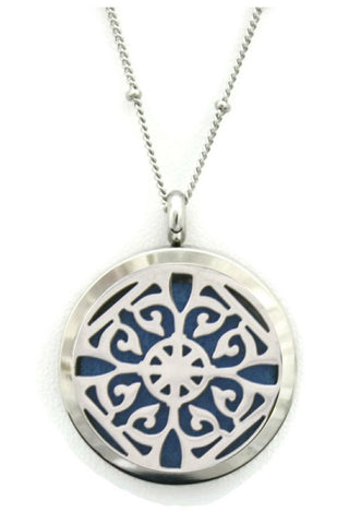 "Classic Filigree Stainless Steel Silver Essential Oil Diffuser Necklace- 30mm- 30""-Diffuser Necklace-Destination Oils"