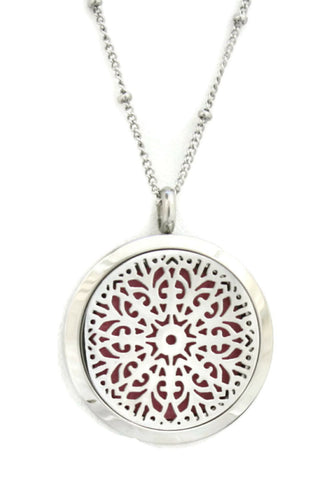 "Burst Filigree Flower Stainless Steel Essential Oil Diffuser Necklace- 30mm- 20""-Diffuser Necklace-Destination Oils"