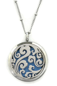 "Swirl Filigree 316L Stainless Steel Essential Oil Diffuser Necklace- 30mm- 20""-Diffuser Necklace-Destination Oils"