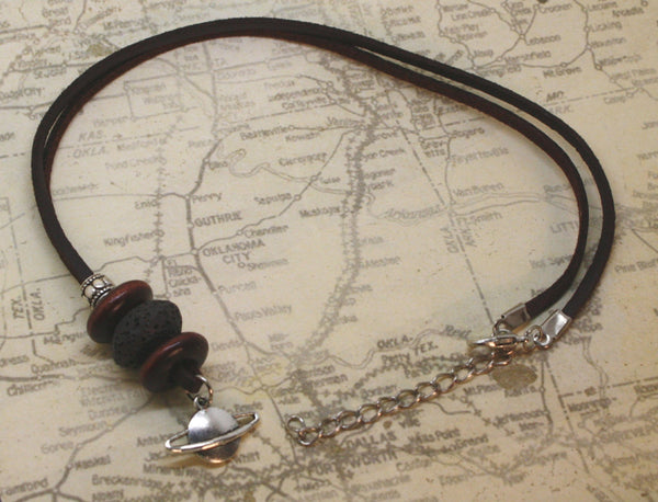 "Galaxy Planet Essential Oil Diffuser Necklace- 18-20"" Leather Cord-Diffuser Necklace-Destination Oils"