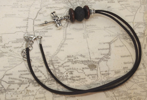 """Nailed Cross"" Essential Oil Diffuser Necklace- 18-20"" Leather Cord-Diffuser Necklace-Destination Oils"