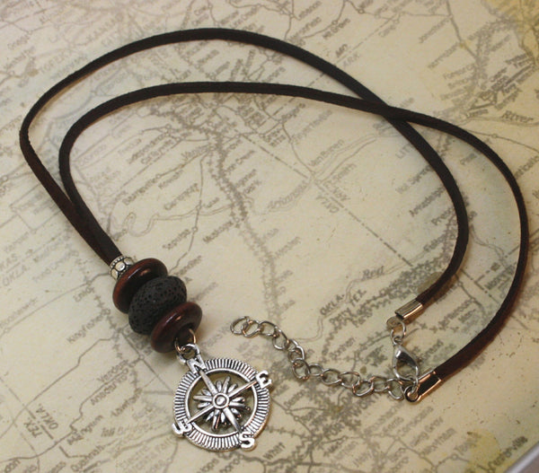 """Compass"" Essential Oil Diffuser Necklace- 18-20"" Leather Cord-Diffuser Necklace-Destination Oils"