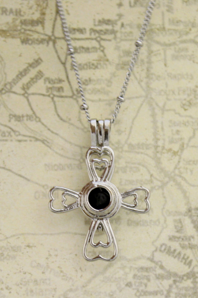 Essential Oil Diffuser Necklace- Silver Cross- Lava Bead