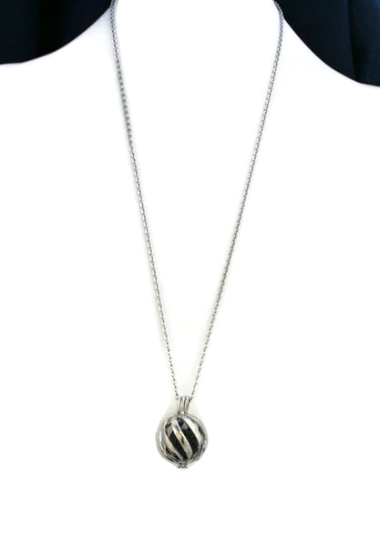 "Statement Silver Lava Stone Essential Oil Diffuser Necklace- 24""-Diffuser Necklace-Destination Oils"