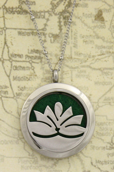 """Lotus"" Flower 316L Stainless Steel Diffuser Necklace- 20"" - Diffuser Necklace - Destination Oils"