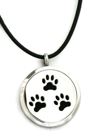 Paw Prints Stainless Steel Diffuser Necklace