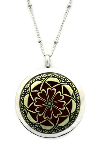 "Unique Two-Tone Stainless Steel Essential Oil Diffuser Necklace- 30mm- 20""-Diffuser Necklace-Destination Oils"