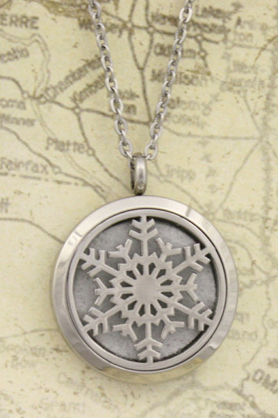 """Let it Snow"" Snowflake 316L Stainless Steel Diffuser Necklace- 24"" - Diffuser Necklace - Destination Oils"