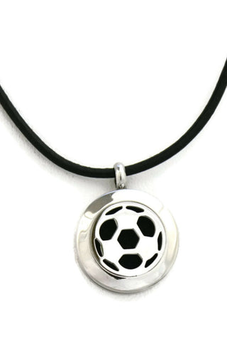 "Soccer Small Stainless Steel Essential Oil Diffuser Necklace-20mm- 18-20""-Diffuser Necklace-Destination Oils"