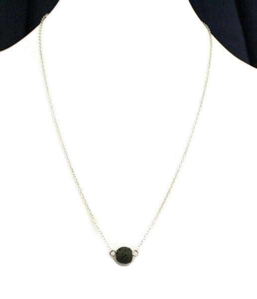"""Soul"" Single Lava Stone Essential Oil Diffuser Necklace- 19""-Diffuser Necklace-Destination Oils"