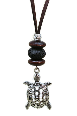 "Turtle Essential Oil Diffuser Necklace- 18-20"" Leather Cord-Diffuser Necklace-Destination Oils"