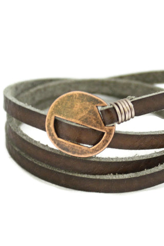 """Wrapped"" Brown Leather Essential Oil Bracelet-Diffuser Bracelet-Destination Oils"