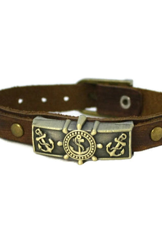 Studded Anchor Leather Essential Oil Bracelet- Unisex Men/Women-Diffuser Bracelet-Destination Oils