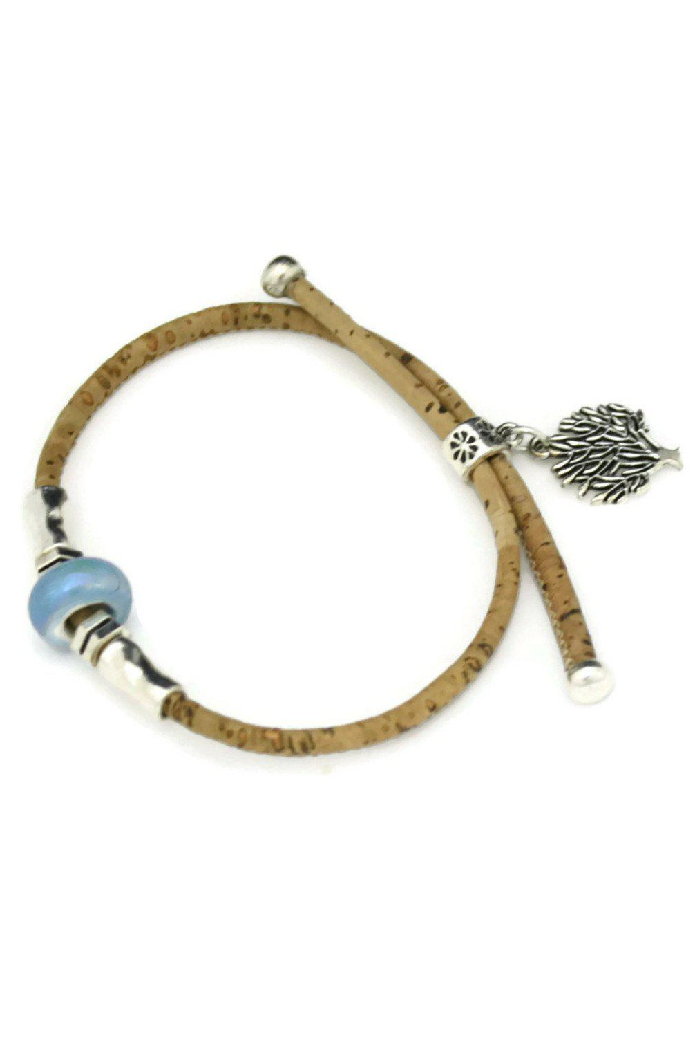 Arbor Blue Cork Essential Oil Diffuser Bracelet- Adjustable-Diffuser Bracelet-Destination Oils
