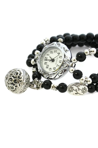 AromaWatch Black Beaded Essential Oil Diffuser Bracelet Watch-Diffuser Bracelet-Destination Oils
