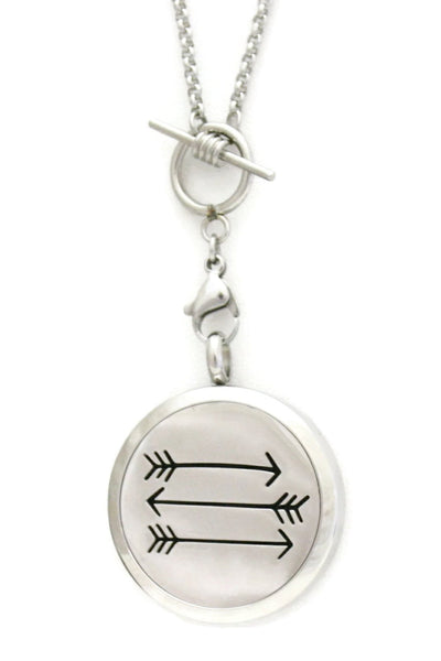 "Arrow Toggle Close Stainless Steel Essential Oil Diffuser Necklace- 30mm- 26.5""-Diffuser Necklace-Destination Oils"