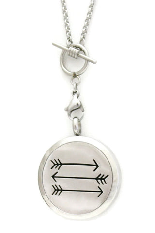 """Arrow"" Toggle Close 316L Stainless Steel Essential Oil Diffuser Necklace- 30mm- 30""-Diffuser Necklace-Destination Oils"