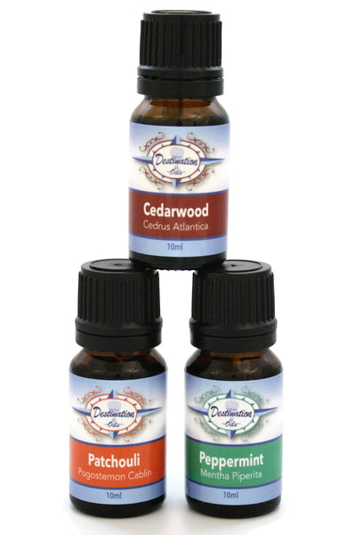 Attention Improving Essential Oil Gift Set- Cedarwood, Patchouli, Peppermint - Gift Sets - Destination Oils