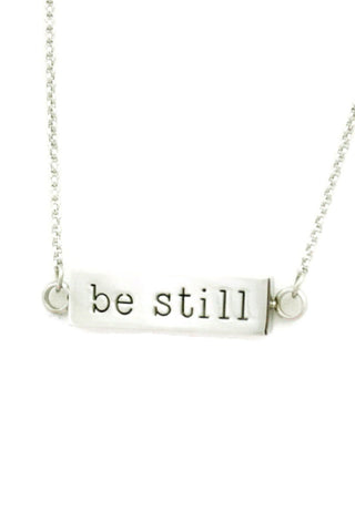"Be Still Essential Oil Diffuser Stainless Steel Bar Necklace- 22-24""-Diffuser Necklace-Destination Oils"