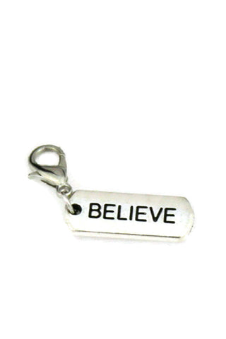 """Believe"" Silver Jewelry Charm-Jewelry Charm-Destination Oils"