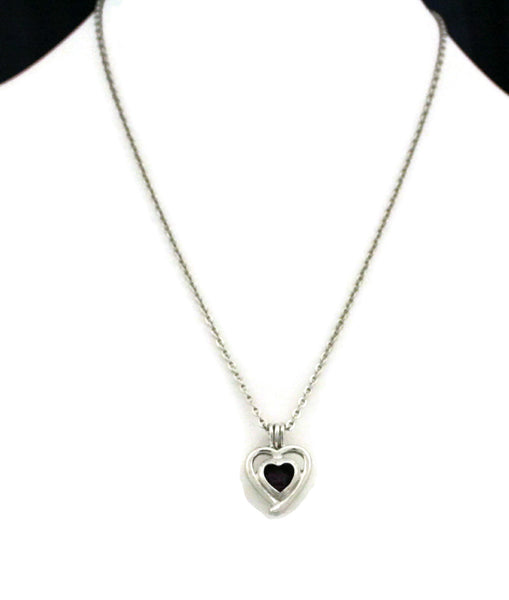 """Beloved"" Silver Heart Essential Oil Diffuser Necklace- 18""-Diffuser Necklace-Destination Oils"