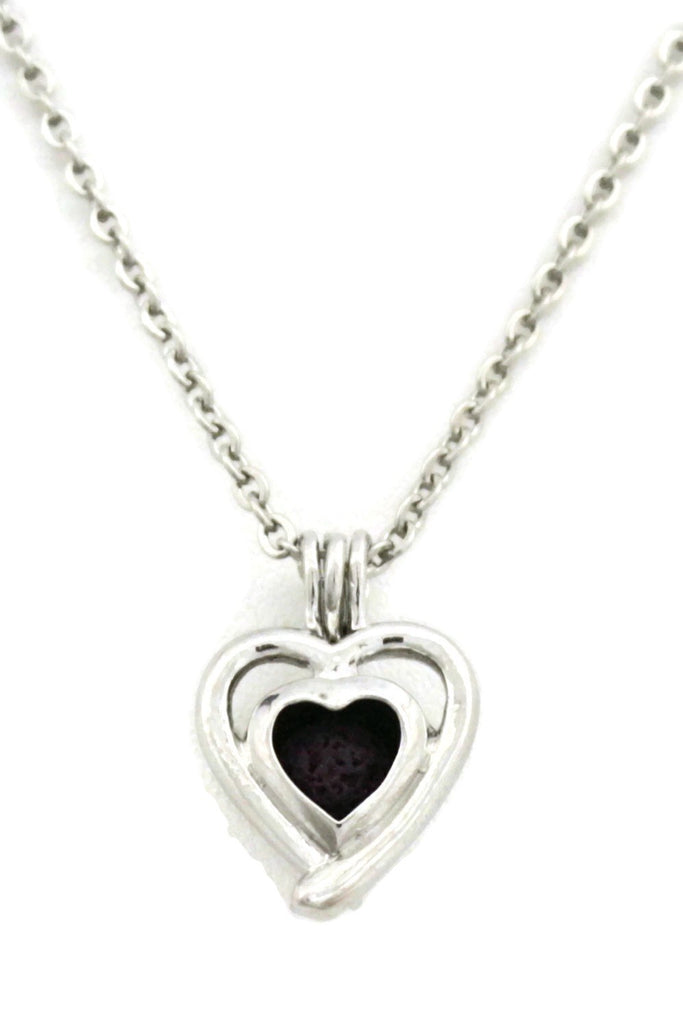 "Diffuser Necklace - ""Beloved"" Silver Heart Essential Oil Diffuser Necklace- 18"""