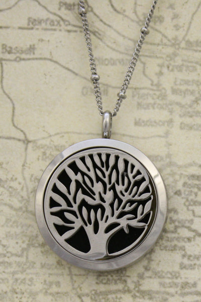 "Bloom Tree Of Life Stainless Steel Essential Oil Necklace- 30mm- 30""-Diffuser Necklace-Destination Oils"