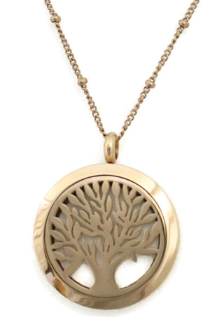 """Bloom"" Tree Of Life Rose Gold 316L Stainless Steel Long Essential Oil Diffuser Necklace- 30mm- 30""-Diffuser Necklace-Destination Oils"