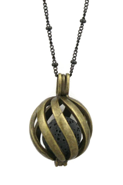 "Diffuser Necklace - ""Statement"" Antique Bronze Lava Stone Essential Oil Diffuser Necklace- 30"""