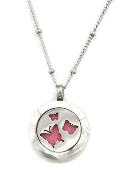 "Diffuser Necklace - ""Flutter"" Butterfly Small 316L Stainless Steel Essential Oil Diffuser Necklace- 18"""