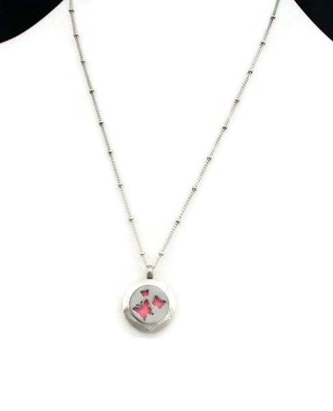 "Flutter Butterfly Small Stainless Steel Diffuser Necklace- 20mm- 18""-Diffuser Necklace-Destination Oils"