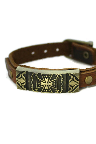 """Studded Cross"" Leather Essential Oil Bracelet- Unisex-Diffuser Bracelet-Destination Oils"