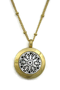 "Diffuser Necklace - ""Duet"" Silver & Gold Small 316L Stainless Steel Essential Oil Diffuser Necklace- 18"""