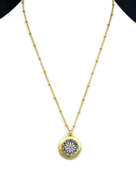 "Duet Silver & Gold Small 316L Stainless Steel Diffuser Necklace- 20mm- 18""-Diffuser Necklace-Destination Oils"