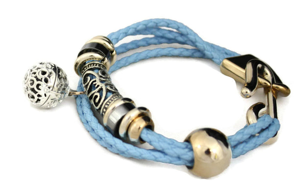 """Elegance"" Essential Oil Diffuser Bracelet- Braided Turquoise Blue-Diffuser Bracelet-Destination Oils"