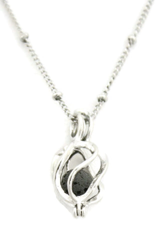 "Encircle Womens Silver Essential Oil Diffuser Necklace- 18""-Diffuser Necklace-Destination Oils"