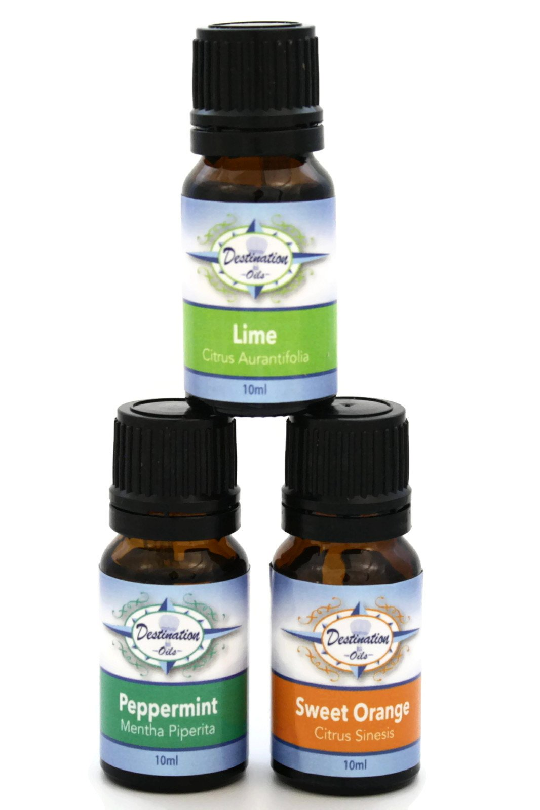 Energy Boost Invigorating Essential Oil Gift Set- Lime, Peppermint, Sweet Orange-Gift Sets-Destination Oils