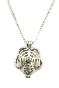 "Flip Flower Silver Essential Oil Diffuser Necklace- 18""- Dual sided-Diffuser Necklace-Destination Oils"